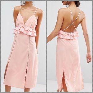 NWT ASOS Peach blush open back ruffle midi dress
